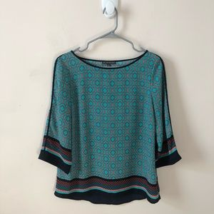 Adrianna Papell Geometric 3/4 Sleeve Top- Size S